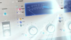 Slow Pan across control panel with light rays Stock Footage
