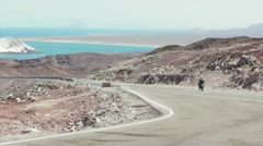 Moto Pass By Baja Coast Stock Footage