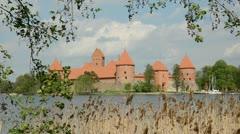 Lithuanian historical kings castle Trakai Stock Footage