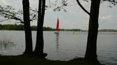 Yacht sailing on the lake Stock Footage