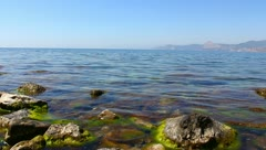 Stony sea coast Stock Footage