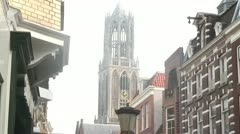 Utrecht City Center - Dom tower & Shopping street Stock Footage