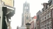 Stock Video Footage of Utrecht City Center - Dom tower & Shopping street