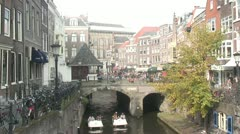 Utrecht City Center - Paddle Boat Stock Footage
