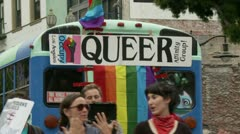 "Rainbow ""QUEER"" Bus Stock Footage"