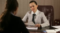 Female boss communicate bad news Stock Footage