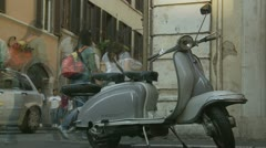 Scooter in Rome (timeapse pan) Stock Footage