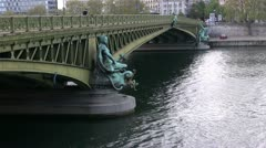 Paris famous bridge, Mirabeau view Stock Footage