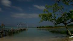 Starlapse bacalar lagoon mexico caribbean Stock Footage