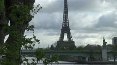 Paris famous bridge, Grenelle , Statue of Liberty and Eiffel Tower Stock Footage
