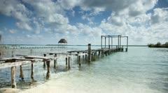 Bacalar lagoon mexico caribbean Stock Footage