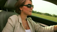 Woman driving profile - stock footage