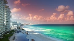 Cancun hotels mexico beach Stock Footage