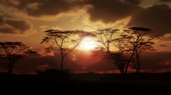 Sunrise/sunset over African Plain with Fiery Sky - stock footage