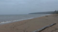 P01834 Lake Superior on Gray Overcast Stock Footage