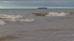P01836 Lake Superior Waves and Island Stock Footage