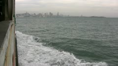 Skyline of Qingdao as seen from a ferry Stock Footage