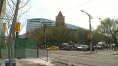 City hall and LRT trains wide angle, Calgary - stock footage