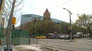 City hall and LRT trains wide angle, Calgary Stock Footage