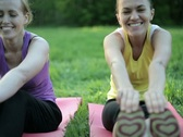 Portrait of two smiling women exercising in the park, tracking shot NTSC Stock Footage