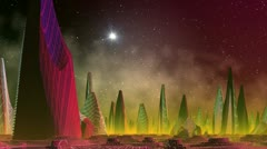Fantastic (alien) city and star flashout Stock Footage