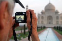 Taj Mahal inside the camera - stock photo