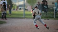 Stock Video Footage of Baseball kids base hit running P HD 0115