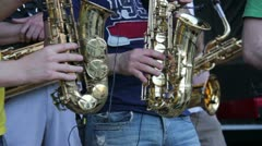 Men playing sax Stock Footage