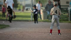 Baseball kids batting from pitcher P HD 0114 Stock Footage