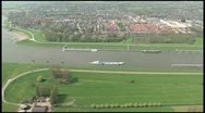 Stock Video Footage of Helicopter footage boats river - The Netherlands