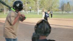 Stock Video Footage of Baseball kids pitch and bat P HD 0074