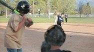 Baseball kids pitch and bat P HD 0074 Stock Footage