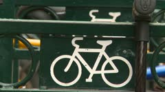 Bike rack in the core of the city, zoom Stock Footage