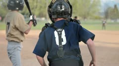 Baseball Little league hit run rural town P HD 0071 Stock Footage