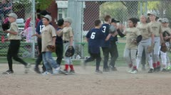 Little League baseball team congratulations P HD 0121 - stock footage