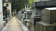 French cemetery in the rain. Stock Footage