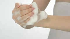 Washing hands with soap bubble, Slow Motion Stock Footage