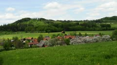Country idyll with village Stock Footage