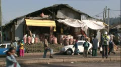 Addis Ababa, Grain Market Stall Zoom out to road Stock Footage