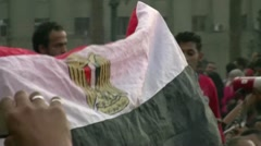Egyptian flag in the hand Stock Footage
