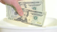 Throwing Money In The Garbage Stock Footage