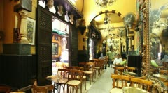 Cafe in El Fishawy. Khan al Khalili Market (Souk). Cairo. Egypt. Stock Footage