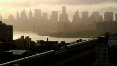 Stock Video Footage of NYC Skyline with subways cars