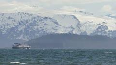 Alaska Ferry Tustumena Heading to Seldovia Reverse Zoom Stock Footage