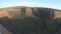 P01872 Fisheye Pan of Colorado National Monument at Sunrise Stock Footage