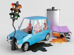 Cars and Alcohol - stock illustration