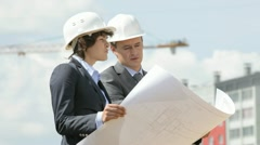 Construction site inspectors - stock footage