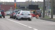 Time-lapse, detour on city roadway Stock Footage