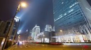 4k resolution Beijing Central Business District night scene time lapse Stock Footage
