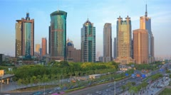 Shanghai Modern Financial Center. Time lapse(Zoom in). Stock Footage